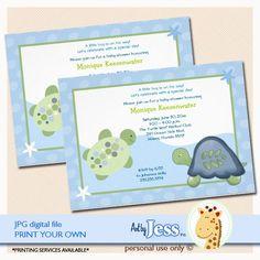 Turtle Reef Turtles Baby Shower Invitatons by AllPetsCherished, $15.00