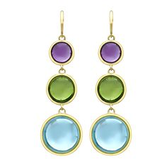 Amethyst, peridot and blue topaz drop earrings in 18ct yellow gold.  Perfect for adding a drop of colour to your outfit!