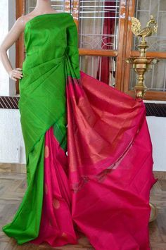 Green with pink partly saree with pink rich pallu. Whatsapp: +91 7019277192