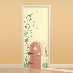 Garden Whimsy Custom Door : Custom Doors at PoshTots Girls Fairy Bedroom, Fairytale Bedroom, Woodland Bedroom, Fairy Theme Room, Garden Whimsy, Small Doors, Fairy Doors, Painted Doors, Little Girl Rooms