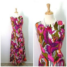 Exotic floral dress #authentic #hawaii🌺 #vintagedresses #summerdress #60sdrsss #cottondress #couturedress