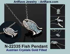$14.99 1N-22335 Fish Austrian Crystals & Gold Filled Pendant & Chain Listing in the Crystal,Necklaces & Chains,Fine Jewelry,Jewelry & Watches Category on eBid United States