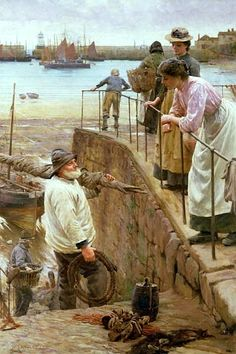 Walter Langley-Between the Tides -1901 (Langley, 1852 – 1922  founder of Newlyn School.)