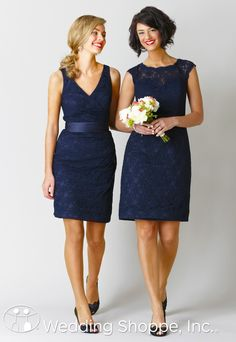 Navy blue, lace bridesmaid dresses from Kennedy Blue.