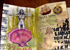 I really love the style the artist has shown in this journal - there's a combination of hand generated drawings with vintage imagery from magazines or books. What I like about it is that the artist has not stuck to one theme or drawing materials, they have done a mixture. This shows that the artist expresses what they are feeling during the time that they are doing it, not just being forced to express what they feel by following a specific theme.