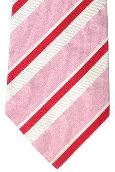 Kiton Sevenfold Tie Pink Red White Stripes