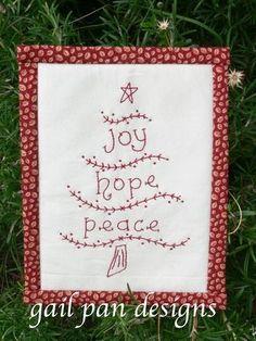 Redwork Christmas Tree...free pattern.
