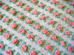 Fluffy Vantona Rosebuds in Pink  on White Vintage Cotton Chenille Fabric 18 x 23 Inches
