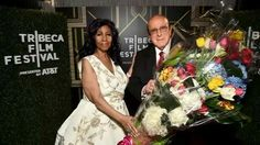 Aretha Franklin and Clive Davis backstage at the Tribeca Film Festival in 2017