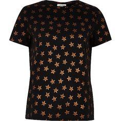 T-shirt noir imprimé étoile métallisée