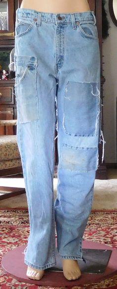 Levis Denim Blue Jeans Light Wash Upcycled by LandofBridget