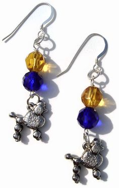 Sigma Gamma Rho themed Blu-tiful and Golden Sterling Silver Poodle Earrings