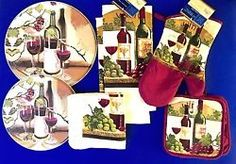 Wine Kitchen Set w/ 4 PC Stove Burner Covers Red Wine Grapes & Dish Drying Mat