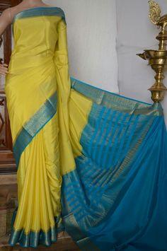 Mysore crepe silk saree Code:A0418MS571702 Cost:10500 INR Whatsapp:  91 7019277192