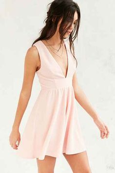 Lucca Couture Plunging Textured Fit + Flare Dress - Urban Outfitters