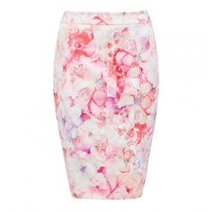 Claudia Printed Pencil Skirt (180 PEN) ❤ liked on Polyvore featuring skirts, knee length pencil skirt, petal skirts, pink skirt, patterned pencil skirt and patterned skirts
