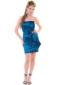 Jade Bow Tie Strapless Cocktail Dress