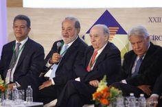Leonel Fernández, Carlos Slim, Julio María Sanguineti y Felipe González.