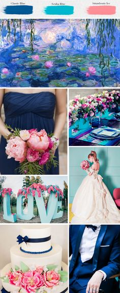 With brides looking ahead to spring nuptials, Strictly Weddings explores the eclectic and ethereal palette of Spring 2015 Wedding Color Trends. Wedding 2015, Blue Wedding, Trendy Wedding, Dream Wedding, Wedding Day, Decor Wedding, Wedding Flowers, Wedding Cakes, Wedding Mood Board