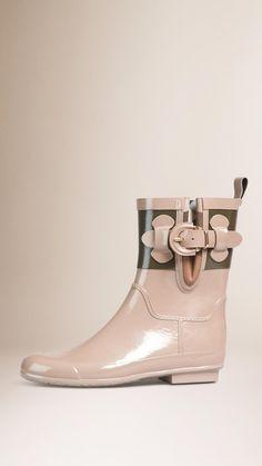 House Check Detail Colour Block Rain Boots Honey   Burberry