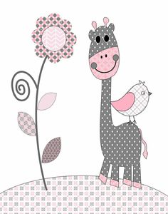 $5 Digital download giraffe & bird nursery decor, super cute for baby girl room. Love the Grey & pink! Could print @ Walmart & frame inexpensively!