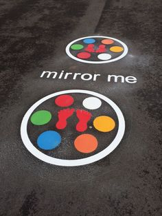 This playground marking is a fun way to develop coordination and active play within your playground. The Mirror me Game consists of two large circles, 8 x multi coloured thermoplastic circles with 2 x footprints in the centre.