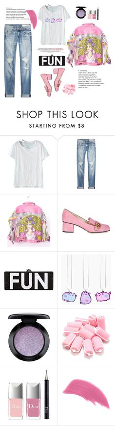 """""""For fun..."""" by gul07 ❤ liked on Polyvore featuring WithChic, rag & bone, Levi's, Gucci, Pusheen, MAC Cosmetics and Christian Dior"""