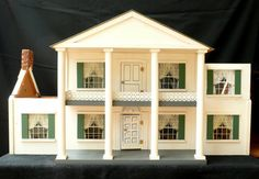 "Hall's vintage dollhouse ""The Hermitage"", cute house, simple southern style.  .....Rick Maccione-Dollhouse Builder www.dollhousemansions.com"