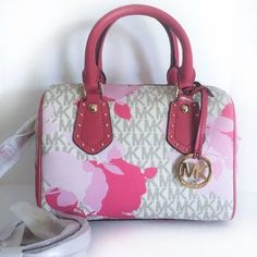 2ce16f29b6f2 Michael Kors Aria Small Crossbody ~ Pink Granita Floral Leather Vanilla PVC  NWT #MichaelKors #