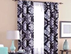 Mainstays Classic Noir Polyester Curtain Panels 2pc 40 x 63in Black White New