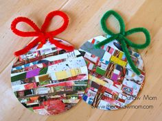 layer/weave strips of magazine cuttings, ribbon, fabric scraps and glue onto shape.  Add ribbon or pipe cleaner bows to hang.