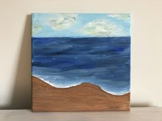 Beach in July: Original 12x12in acrylic painting of the beach. Original painting of Tybee Island beach.  Acrylic beach painting