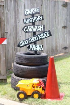 Fun sign at a transportation birthday party! See more party ideas at CatchMyParty.com!