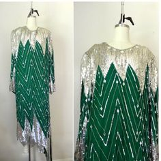 NEW IN THE SHOP Vintage 1970s Judith Anne Creations Sequined 100% Silk Green Silver Dress (46/40/46) size X-Large $150 http://ift.tt/1lP6fC1