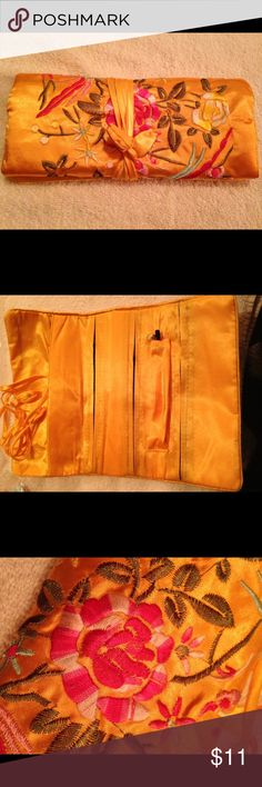 """Jewelry Wrap Chinese Silk Embroidered Must have! Gorgeous yellow silk embroidered with floral detail. Tie closure. 8"""" x 3 1/2"""" closed. 8"""" x 10 1/2"""" open. 3 zippered & 1 open compartment. 1 button closure bar. New! Jewelry"""
