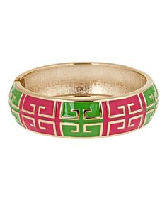 Pink & Green Grecian Hinge Bangle by Fornash #zulily #zulilyfinds