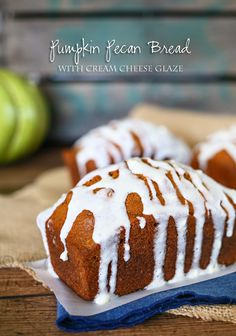 Pumpkin Pecan Bread {w/ cream cheese glaze} on kleinworthco.com