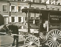 Milk wagon and old houses, Grove Street, No. Manhattan, June Photo by Berenice Abbott. New York Public Library Collection Old Pictures, Old Photos, Vintage Photos, Architecture Images, City Architecture, Groves Street, Berenice Abbott, Vintage New York, Greenwich Village