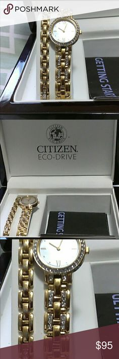 Citizen watch with matching bracelet Light signs of wear no scratches notice I will do another recheck before sending, just had a 45 $ battery put it but it needs to charged in light or sunlight been sitting in my drawer Citizen Accessories Watches