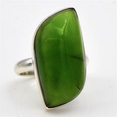 925 Solid Sterling Silver Jewelry Natural Serpentine Gemstone Ring Size us 6.5 #Handmade #SilverJewelry