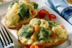Easy to make baked potatoes topped with vegetables - great addition to any main course!