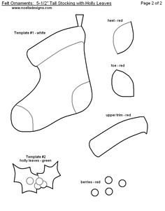 Felt ornament stocking template