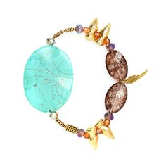 Andrea Bracelet  Banish negativity and get a boost of energy from this smokey quartz and turquoise stretch bracelet. Feel extra protection from the golden spike beads.