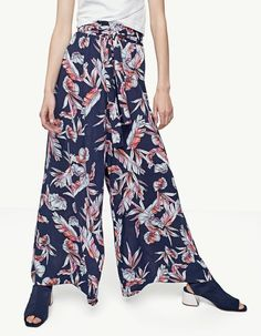 Printed palazzo trousers - Trousers | Stradivarius Other Countries