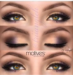 Gold, purple and brown eye shadow look - great for brown eyes. Don't forget to blend, blend, blend for the soft ombre effect. You don't want to see where a color stops and another starts!