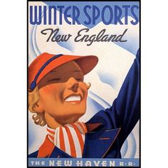 Amazon.com: WINTER SPORTS NEW ENGLAND NEW HAVEN AMERICAN VINTAGE POSTER REPRO: Everything Else