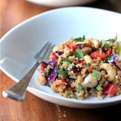 Cruncy Cashew Thai Quinoa Salad with Ginger Peanut Dresssing