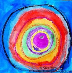 Adventures of an Art Teacher: Kindergarten Wax-Resist Kandinskys