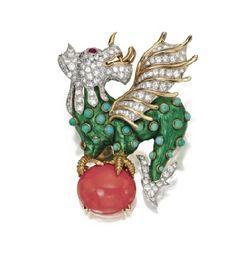 Colored Stone and Diamond 'Basilisk' Brooch, Donald Claflin for Tiffany & Co.