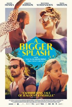 """A Bigger Splash (march 2016) I didn't love it. Its long and kinda boring. Too many """"crotch shots"""". Tilda Swinton is good - she does well with a role where her speaking is curtailed by a vocal operation. But yeah, thats the high point. 1.5 stars"""